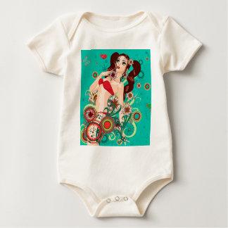 Red bikini girl baby bodysuit