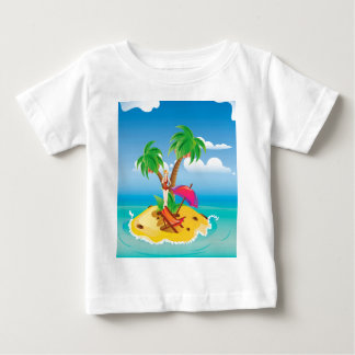 Red Bikini Girl on Island Baby T-Shirt