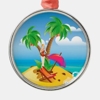 Red Bikini Girl on Island Metal Ornament