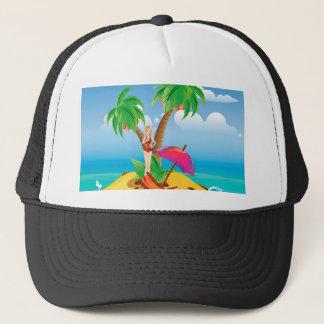 Red Bikini Girl on Island Trucker Hat