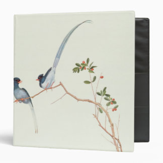 Red-billed blue magpies,a branch red berries 3 ring binder