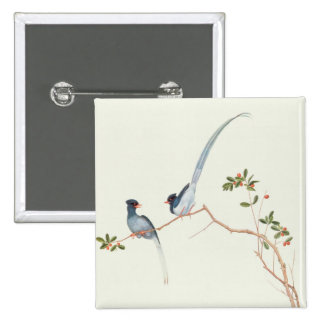 Red-billed blue magpies,a branch red berries button