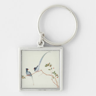 Red-billed blue magpies,a branch red berries keychain