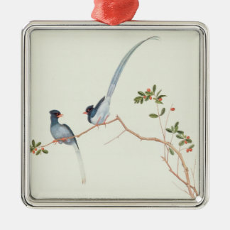 Red-billed blue magpies,a branch red berries metal ornament