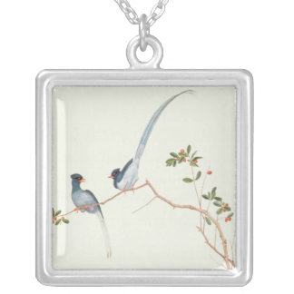 Red-billed blue magpies,a branch red berries silver plated necklace