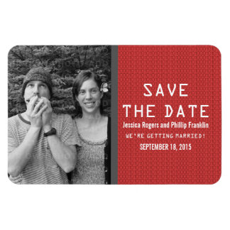 Red Binary Code Photo Save the Date Magnet