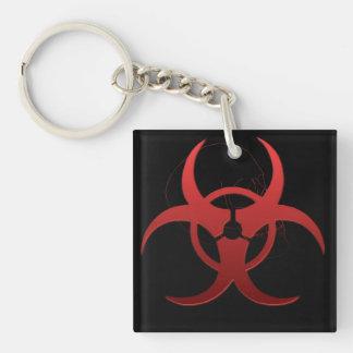 Red Biohazard Keychain