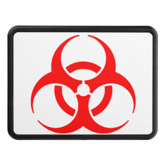 Red Biohazard Sign Hitch Cover