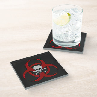 Red Biohazard Skull and Crossbones Glass Coaster