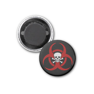 Red Biohazard Skull Magnet