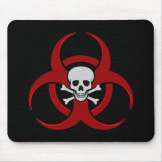 Red Biohazard Skull Mousepad