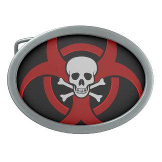 Red Biohazard Skull Oval Belt Buckle