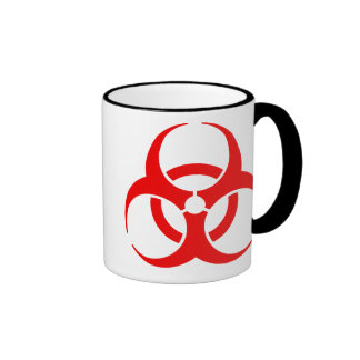 Red Biohazard Symbol Ringer Coffee Mug
