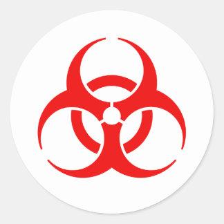 Red Biohazard Symbol Round Stickers