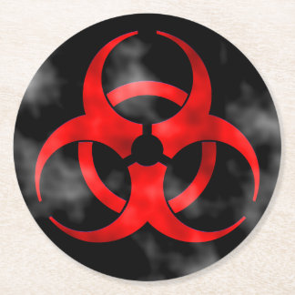 Red Biohazard Symbol Round Paper Coaster