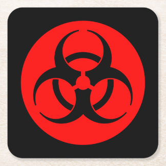 Red Biohazard Symbol Square Paper Coaster