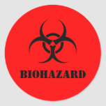 Red BIOHAZARD Warning Label Halloween Props Classic Round Sticker