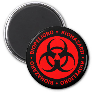 Red Biohazard Warning Magnet