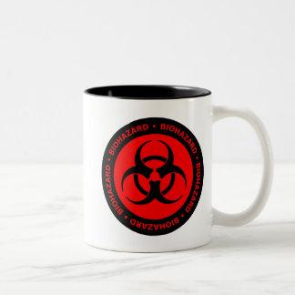Red Biohazard  Warning Two-Tone Coffee Mug