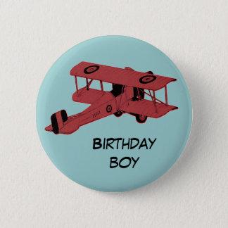 red biplane birthday boy pin button