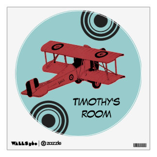red biplane boy's room wall decal