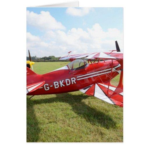 Red Biplane Card