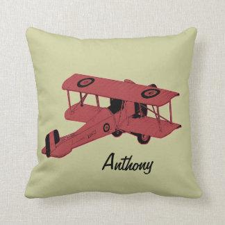 red biplane kids room toss pillow