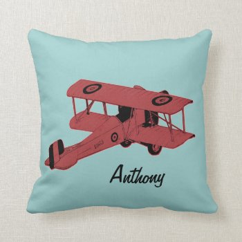 Red Biplane Kids Room Toss Pillow by justbecauseiloveyou at Zazzle