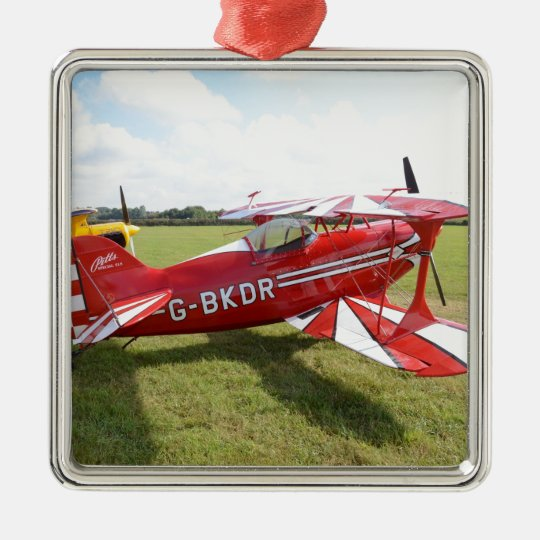 Red Biplane Metal Ornament