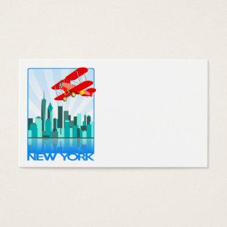 Red Biplane Over New York Retro Design Business Card