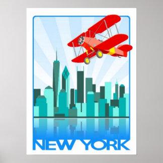 Red Biplane Over New York Retro Design Poster