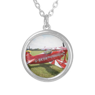 Red Biplane Silver Plated Necklace