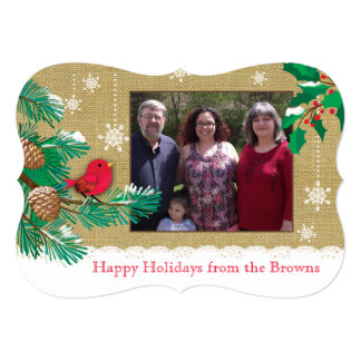 Red bird and Snowflake Christmas Custom Photocard Card