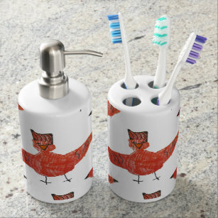 Red Bird Bathroom Accessories Soap Dispenser U0026 Toothbrush Holder