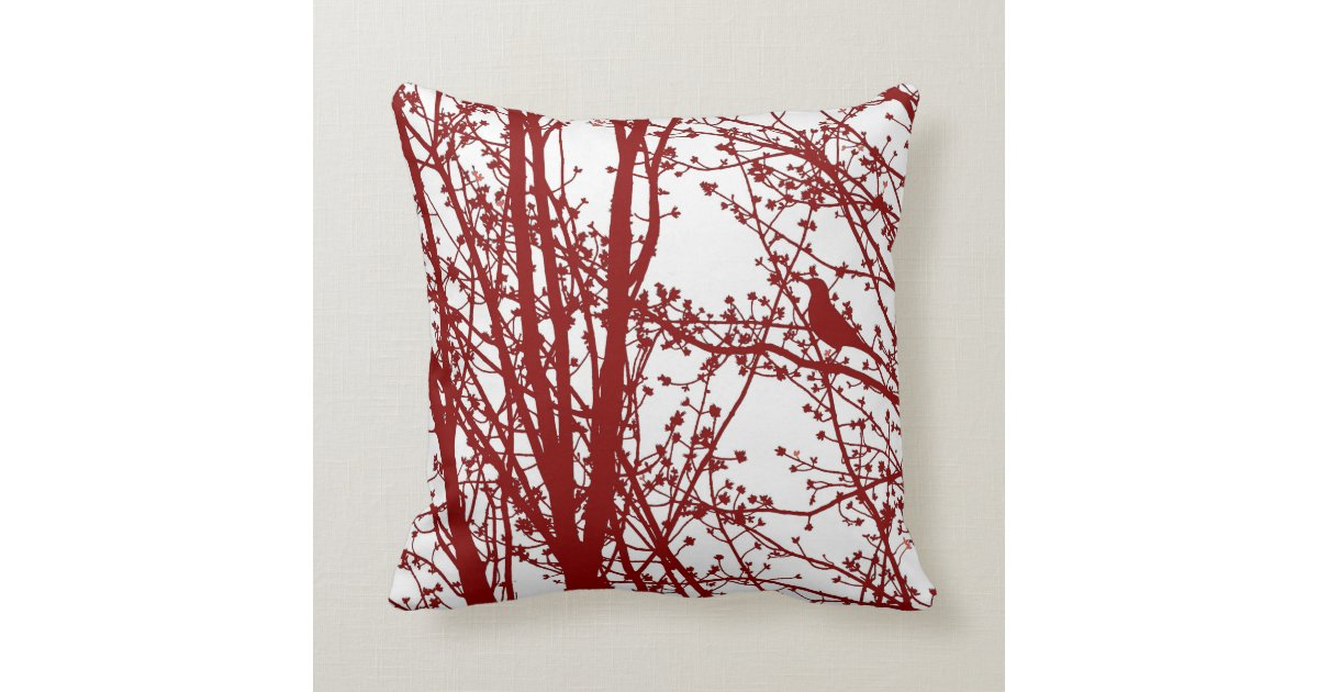 Red Bird Throw Pillow : Red Bird & Branches Patterned Throw Pillow Zazzle.com