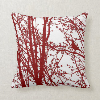 Red Bird & Branches Patterned Throw Pillow