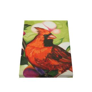 """Red Bird"" by Jenny Koch Canvas Print"