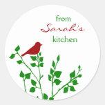 Red Bird Christmas Custom Baking Stickers