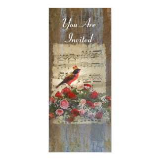 Red bird collage on a vintage music sheet card