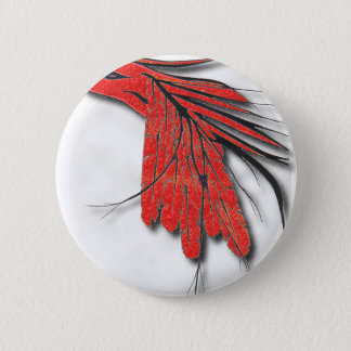 red bird feather pinback button