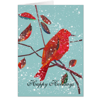 Red Bird First Snow Holiday Card 2016