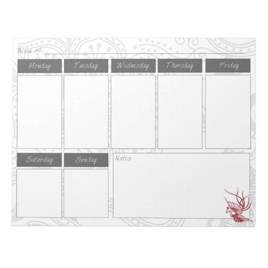 Red Bird & Floral Pattern Weekly Calendar Notepad