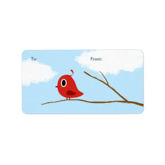 Red Bird Gift Tags Label