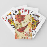 """Red Bird in a Flower Garden Playing Cards<br><div class=""""desc"""">&#169; Lisa Audit / Wild Apple.  A beautiful red bird in a floral garden. The flowers are in shades of red,  orange,  and yellow with touches of white.</div>"""