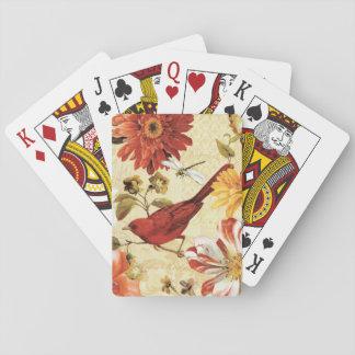 Red Bird in a Flower Garden Playing Cards