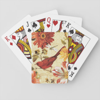 Red Bird in a Flower Garden Playing Cards