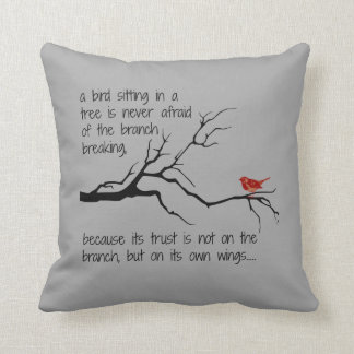 Red Bird in Tree, Have faith in yourself Pillow
