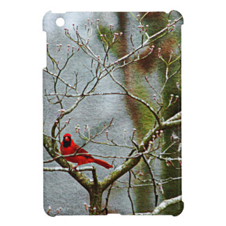 Red Bird In Winter Cover For The iPad Mini
