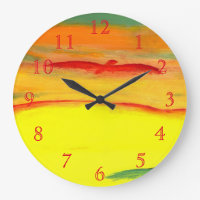 Red Bird Of Prey Large Clock