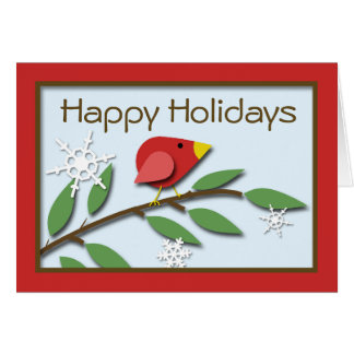 """Red Bird on a Branch """"Happy Holidays"""" Card"""